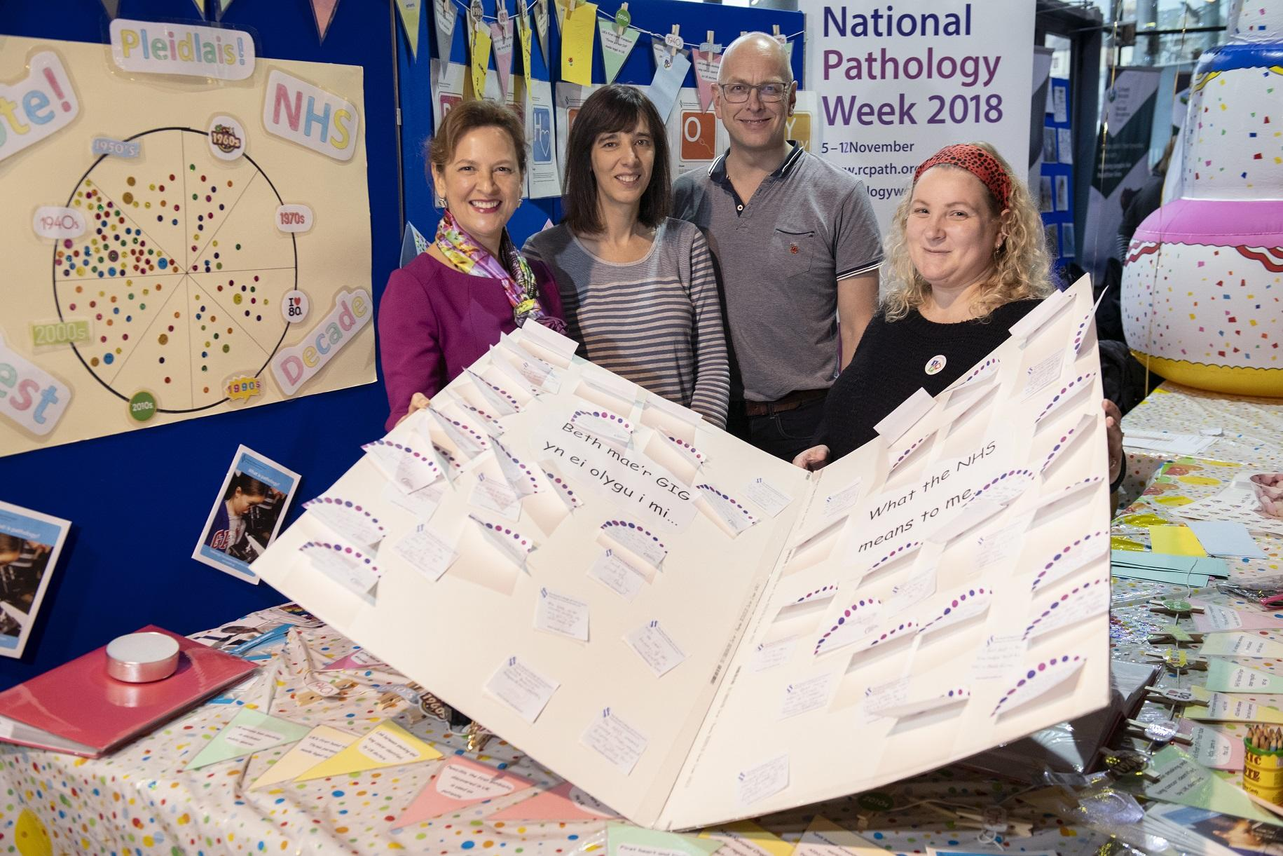 The giant 70th birthday card with thank you messages to the NHS