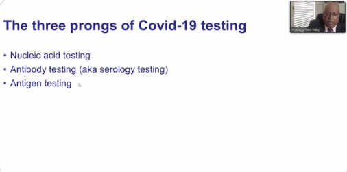 Professor Tahir Pillay, professor and chair, Department of Chemical Pathology and head of Pathology, University of Pretoria, giving the South African perspective on COVID-19