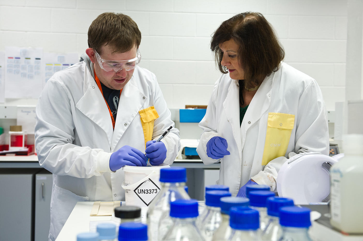 Professor Mary Sheppard with colleague in the Cardiac Risk in the Young (CRY) Centre for Cardiac Pathology Laboratory